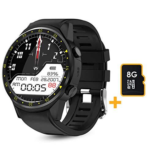 LSQ SmartWatch, F1 Smart Watch Men's GPS Reloj Rastreador de Ritmo cardíaco, Modo Multi-Sport 2020, con podómetro de Tarjeta SIM, Adecuado para Android iOS,A