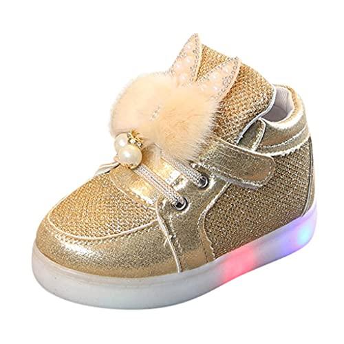 Zapatillas LED para niños y niñas, zapatos luminosos, zapatillas de deporte para bebés y niños, con cierre de velcro, planas, antideslizantes, para exteriores, dorado, 23