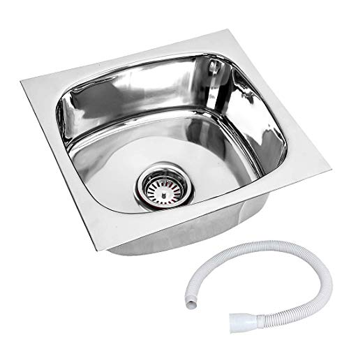 RENVOX Kitchen Sink 18x16x9 Inches Glossy Finish Stainless Steel Sink Premium Range || Kitchen Accessories || Kitchen Sink Stainless Steel || Bathroom Accessories Single Bowl with PVC Pipe