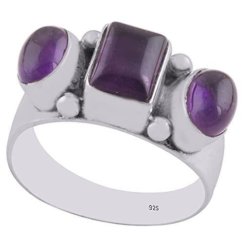 925 Sterling Silver Purple Natural Amethyst Women's Rectangle, Oval Shape Ring Band