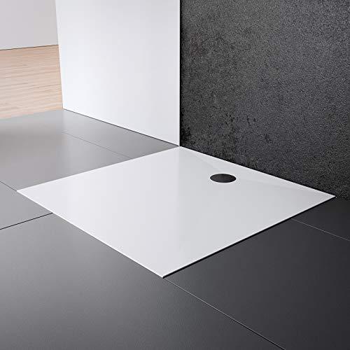 Schulte EP214028 04 Duschwanne Schulte-plan Quadrat, 120 x 120 cm, Mineralguss, alpinweiß, inkl, Füße und Ablauf, für bodengleiche Montage