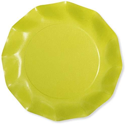 Chaks 41KTL, Paquet de 8 Grandes Assiettes Carton COMPOSTABLES 27 CM, Vert Lime