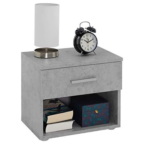 CARO-Möbel Nachttisch Mary Nachtschrank Nachtkommode Betonoptik, 42 x 38 x 30 cm, mit Schublade und offenem Fach