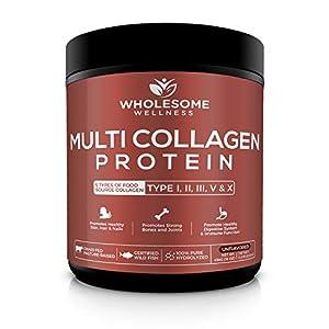 Multi Collagen Protein Powder Hydrolyzed (Type I II III V X) Grass-Fed All-in-One Super Bone Broth + Collagen Peptides - Premium Blend of Grass-Fed Beef, Chicken, Wild Fish, Eggshell Collagen