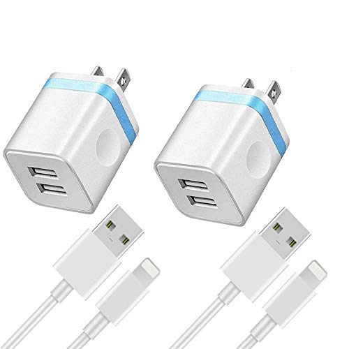 iPhone Charger, Apple MFi Certified Lightning Cable, 6FT Fast Charging Data Sync Transfer Cord with Dual Port USB Wall Charger Compatible iPhone 12 Mini 11 Pro Max XS XR X 8 7 6s 6 Plus SE 5s 5 iPad