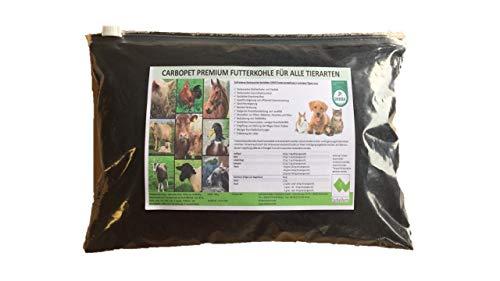 CARBOPET Futterkohle 250 g Nachfüllpack für Hunde, Katzen, Hamster, Meerschweinchen, Kaninchen, Hasen, Vögel, Pferde, nach GMP+ FSA gesichert (500 g)