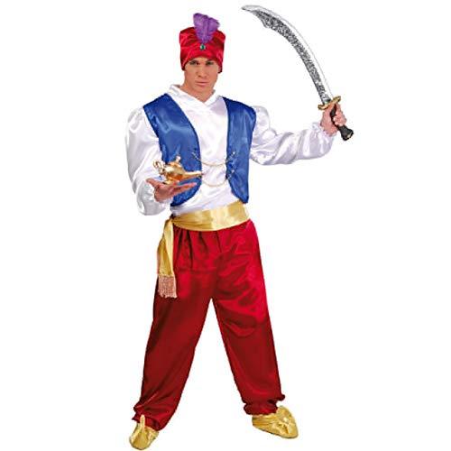 Amakando Arabisches Flaschengeist-Kostüm für Erwachsene / L (52/54) / Orientalisches Dschinn-Kostüm für Herren / Wie geschaffen zu Fasching & Themenabend