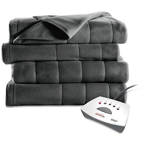 Sunbeam Electric Heated Fleece Blanket (Full, Slate Grey)