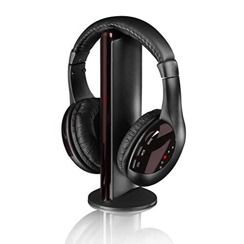 iTek 5 in 1 cuffie wireless o cablate sopra le orecchie, stereo Hi-Fi con bassi profondi, radio FM integrata e microfono per telefoni cellulari, TV, PC e viaggi, leggero, nero