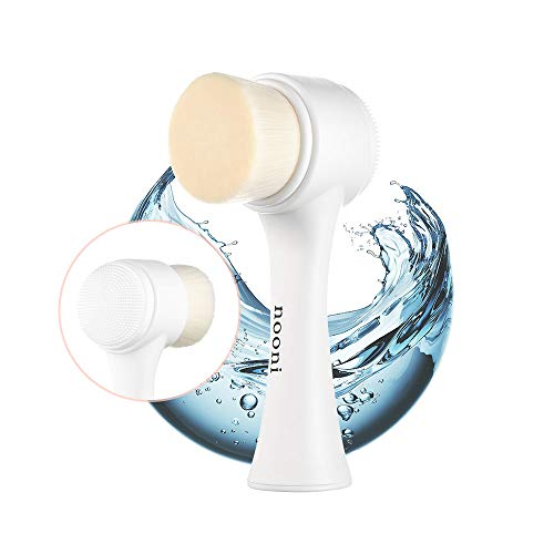 NOONI Pore Cleansing Manual Dual Face Brush | 2-in-1 Soft Bristle & Silicone Facial Cleansing Brush for Exfoliating and Deep Pore Cleansing | Korean Skincare Tools