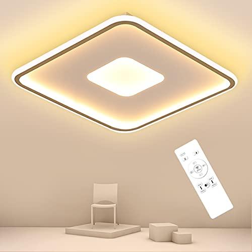 SHILOOK Led Deckenleuchte Dimmbar mit Fernbedienung, 40W 4000LM Modern Deckenlampe 3000k-6000K für Schlafzimmer/Wohnzimmerküche/küche/Kinderzimmer, Quadratisch Weiß Flach 40cm