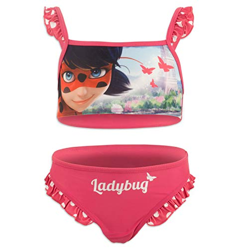 Miraculous LadyBug Cat Noir - Bikini Traje de baño de 2 Piezas - para niña - SE19XX [Fucsia - 4 años - 104 cm]
