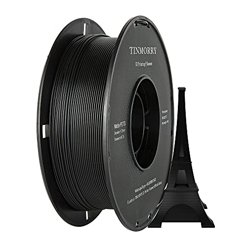 TINMORRY - Filamento PETG 1,75 mm per stampante 3D, 1 kg 1 bobina, nero opaco