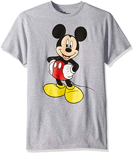 Disney Mickey Mouse Men's Classic Mickey Mouse Full Size Graphic Short Sleeve T-Shirt, Heather Grey, Small