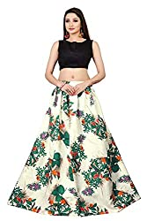 S4Group Womens Tapetta Silk Lengha Choli (Rama Green, Free Size)