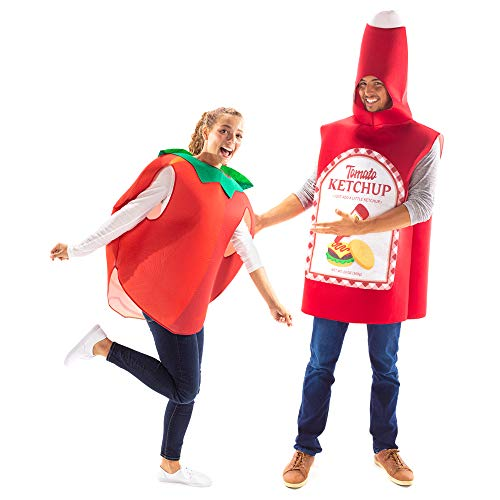Ketchup & Tomato Halloween Couples Costume - Funny Food Outfits for Adults