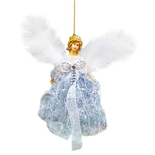 AMhomely Christmas Decorations Sale Christmas Feather Angel Doll Hanging Xmas Tree Pendants Ornaments Home Decor 22x13cm Merry Christmas Decorative Xmas Decor Ornaments Party Decor Gifts for Kids