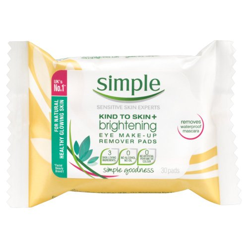 Simple Kind To Skin+ Radiance Brightening Eye Make-Up Remover Pads - Pack of 30 Pads