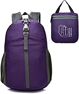 Epicgadget Lightweight Water Resistant Travel Daypack Hiking Camping Outdoor Foldable Backpack (Purple)