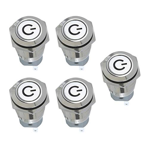 MagiDeal 5 Unids/Lote Interruptor de Botón Momentáneo Carcasa de Acero Inoxidable Adecuado para Luz LED Roja con Orificio de Montaje de 16mm