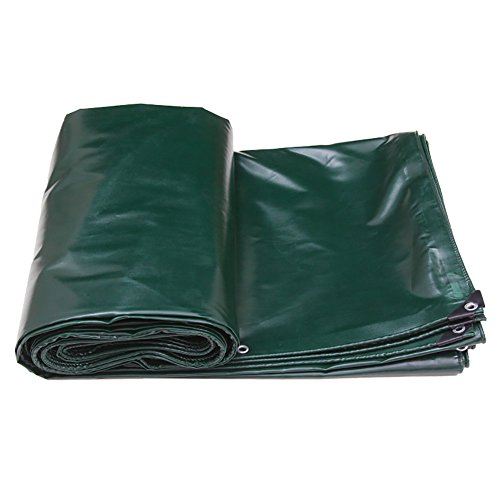 YAN FEI Toile imperméable de bâche de Protection Solaire de Tissu antipluie de Pluie de PVC épaississant la Toile Se Pliante en Plein air (Color : Dark Green, Size : 6X4m)