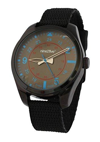 nine2five arde07ngaz Hombres de banda de nailon negro marrón Rude esfera azul reloj