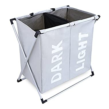 Chrislley X-frame Double Laundry Basket 2 Section Oxford Dirty Laundry Hamper Sorter Waterproof with Handles (Light Grey)