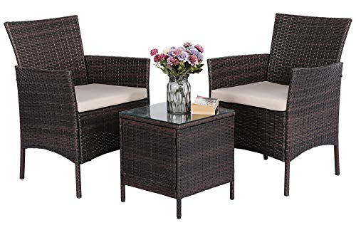 Yaheetech Outdoor Dining Table and Chairs 3 Piece Rattan Garden Furniture Set 2 Seater Garden Coffee Chairs and Table w/Cushions