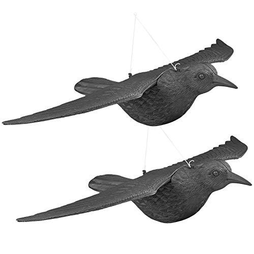 WELLGRO 2 x Vogelschreck - Krähe fliegend - Kunststoff, schwarz