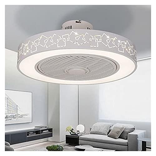 Luces de ventilador de techo de hierro labrado pintado blanco moderno y simple, iluminación de acrílico decorativo de cristal, luces de ventilador de dimmiles ( Blade Color : A , Voltage : 220V )