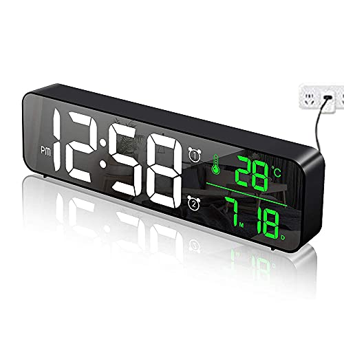 Réveil numérique de Chambre à Coucher, réveil du Matin, Horloge Murale, Affichage Miroir LED (avec Date de température), réveil bimode/40 Musique/5 Niveaux de luminosité réglables