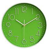 Reloj de Pared Moderno silencioso, sin tictac, Funciona con Pilas, Redondo, fácil de Leer, Relojes de Pared de Cuarzo para Sala de Estar, Cocina, Escuela, Oficina (Verde 1)