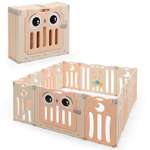 COSTWAY Laufgitter mit Tür und Spielzeugboard, Baby Laufstall faltbar, Absperrgitter aus Kunststoff, Krabbelgitter, Spielzaun, Schutzgitter für Säuglinge und Kleinkinder (Rosa, 14 Paneele)