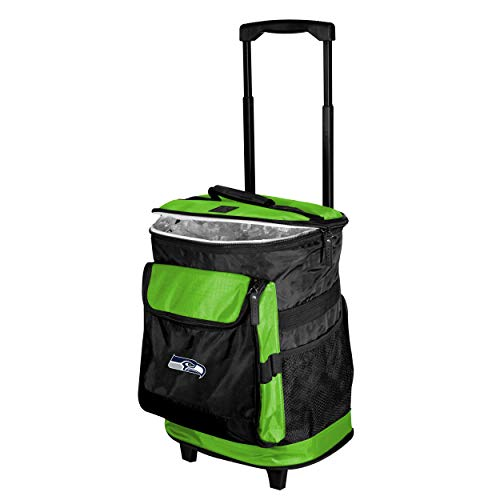 Logo Brands Seattle Seahawks Lime 48-Can Rolling Cooler with Wheels and Backpack Straps
