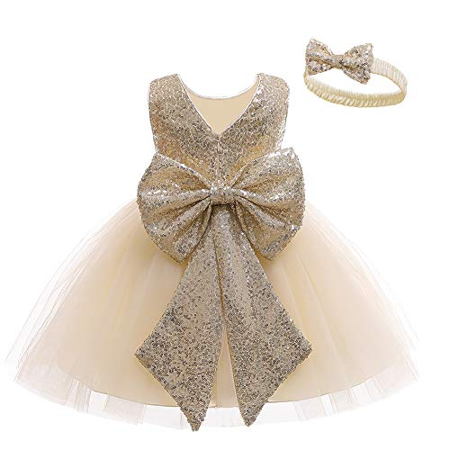 LZH Baby Girls Dress Sequin Bowknot Tutu Flower Birthday Party Wedding Dress Abiti per Bambini con Cappelli