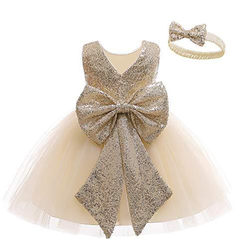 LZH Baby Mädchen Kleid Pailletten Bowknot Tutu Blume Geburtstagsfeier Brautkleid Kinderkleider mit Kopfbedeckung