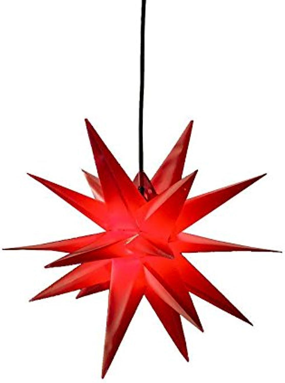 Roter Weihnachtsstern zum Hngen - 3D Dekostern mit 18 Zacken - Durchmesser  60cm (XL) - Beleuchteter Hngestern für den Auenbereich (Wetterfest)