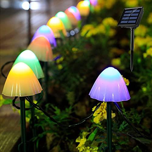 Luci solari per esterni, da giardino (20 LED 8 modalità) 5 m / 5 m auto on/off a forma di fungo,...