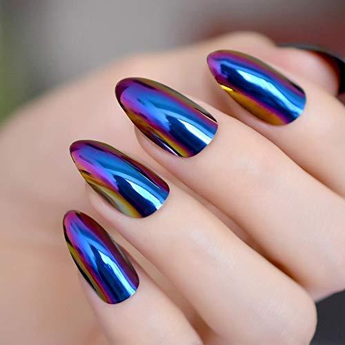 ZHEN Miroir métallique Artificiel Faux Ongles Chrome Licorne Nail Art Conseils Glamour Qualité Nail Décoration Set