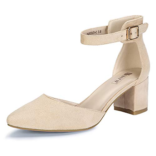 IDIFU Women s IN2 Pedazo Dress Shoes Low Block Heels Comfortable Chunky Closed Toe Ankle Strap Wedding Pumps(Nude Suede  9 B(M) US)