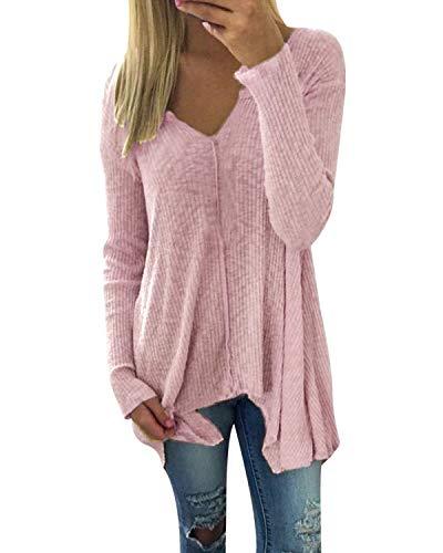 Zanzea Vrouwen V-hals T-shirt met lange mouwen Onregelmatige zoom Splice Stretch Slim Casual Tee Tuniek Tops Blouse