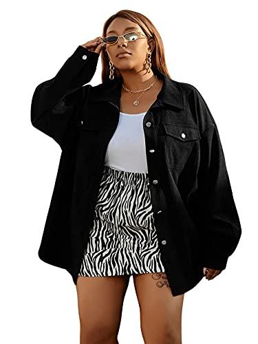 DIDK Damska kurtka jesienna kurtka koszulowa oversized sztruks kurtka przejściowa duża klasa lekka guzik down długi rękaw BF koszula górna, czarny, XL