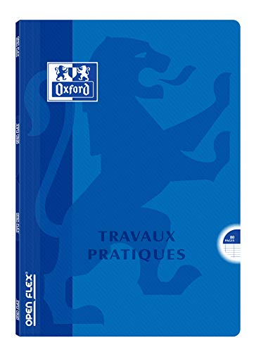Oxford Openflex Cahier Travaux pratiques agrafé A4 80 pages Grands Carreaux Seyès Couleurs Aléatoires