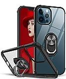 LeYi Funda iPhone 12 / iPhone 12 Pro,Transparente Carcasa con 360 Grados iman Soporte Silicona Bumper Antigolpes Armor Case para Movil iPhone 12,Clear Negro