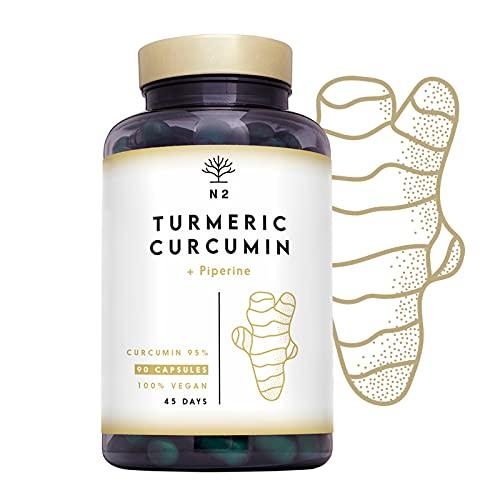 Curcuma e Piperina Plus. 95% di Curcumina Alta Concentrazione Efficienza. Antinfiammatoria Digestivo Antiossidante Protettore.90 Capsule Vegetali. Certificato VEGANO CE. N2 Natural Nutrition