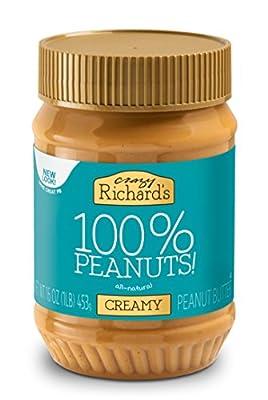 Crazy Richard's All Natural Creamy Peanut Butter 100% Peanut Non GMO Salt, Sugar, and Palm Oil Free