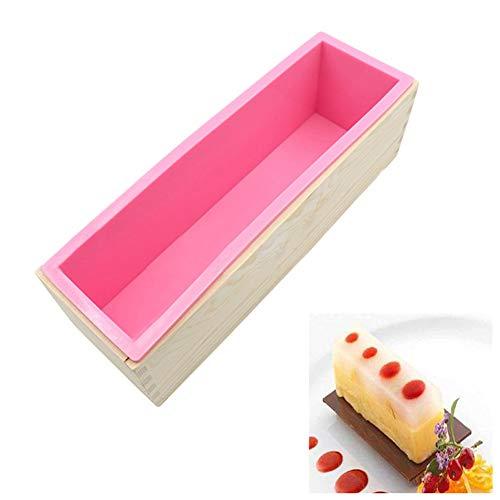 Écologique 1200ml de qualité alimentaire gâteau en silicone moule rectangulaire savon Loaf Boîte en bois bricolage Faire des outils for faire Pain Swirl Savon Biscuit pour les enfants Moule de cuisson