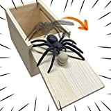 PLASUPPY Spider Prank Box, Handmade Wooden Fun Practical Joke Boxes for Halloween Party and Gift Supplies