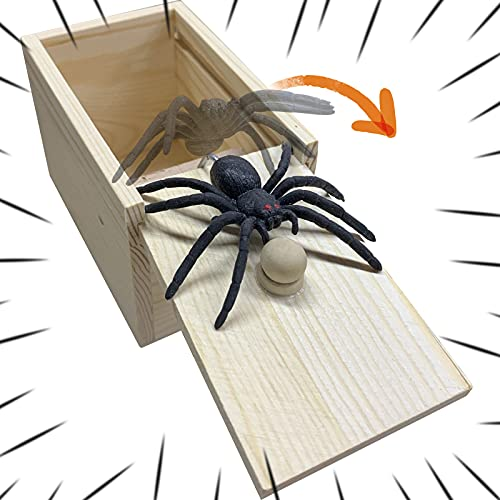 PLASUPPY Spider Prank Box, Handmade Wooden Fun Practical Joke Boxes for Halloween Party and Gift...