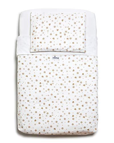 Niimo Next to me Sabanas set de sábanas (3 piezas) 100% algodón para cuna de colecho Lullago Kinderkraft UNO Cullami Cam Jane Babyside dimensiones 50x83 para recién nacido (Corazones Tòrtola)